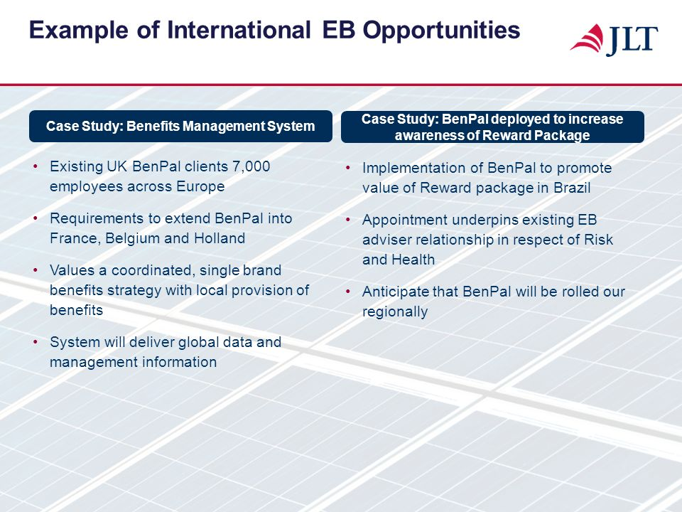 Example of International EB Opportunities Existing UK BenPal clients 7,000 employees across Europe Requirements to extend BenPal into France, Belgium