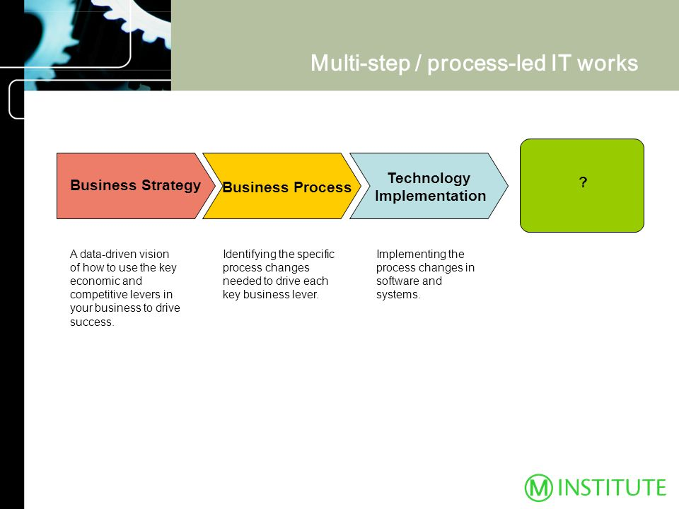 Multi-step / process-led IT works Implementing the process changes in software and systems. Identifying the specific process changes needed to drive e