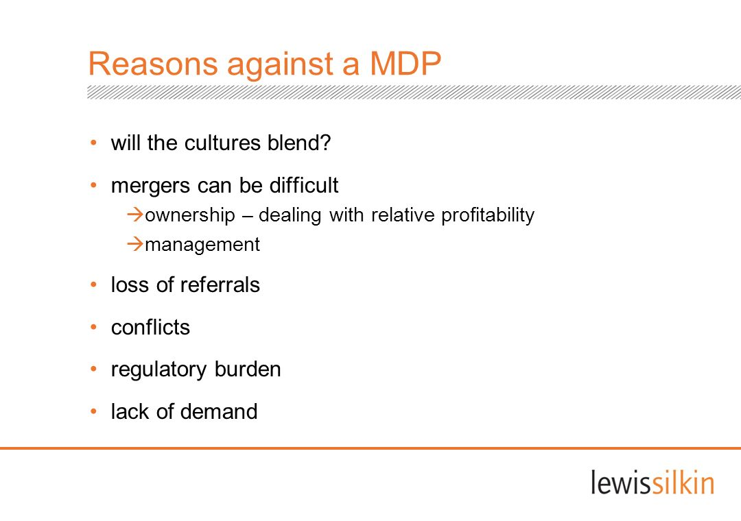 will the cultures blend? mergers can be difficult ownership – dealing with relative profitability management loss of referrals conflicts regulatory bu