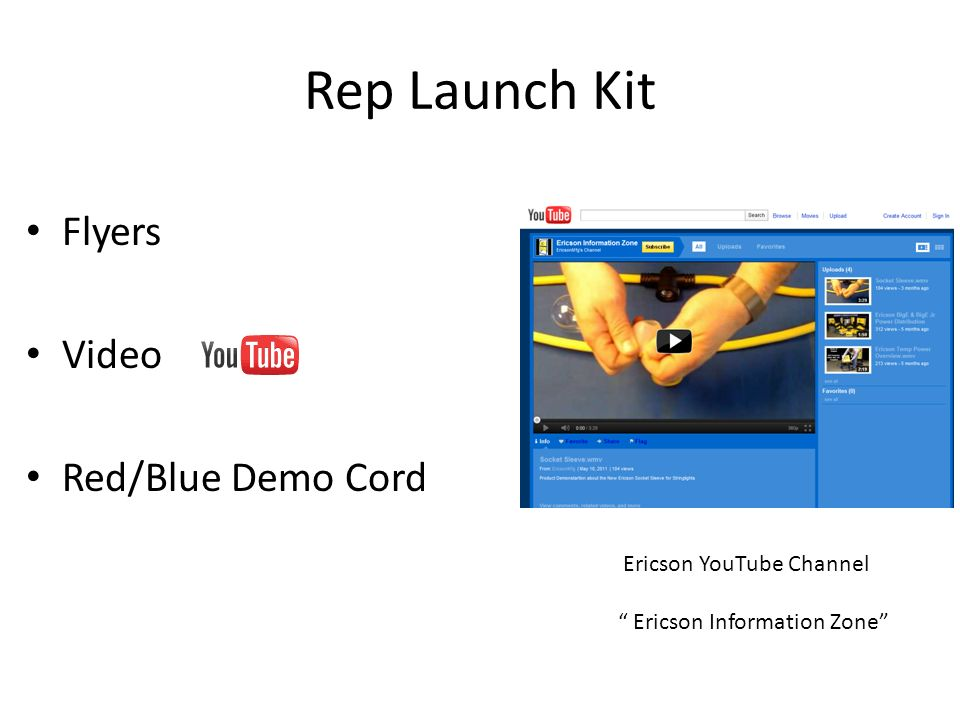 Rep Launch Kit Flyers Video Red/Blue Demo Cord Ericson YouTube Channel Ericson Information Zone