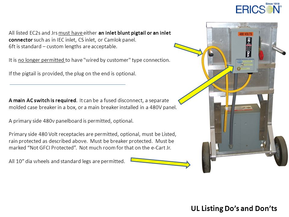 All listed EC2s and Jrs must have either an inlet blunt pigtail or an inlet connector such as in IEC inlet, CS inlet, or Camlok panel. 6ft is standard