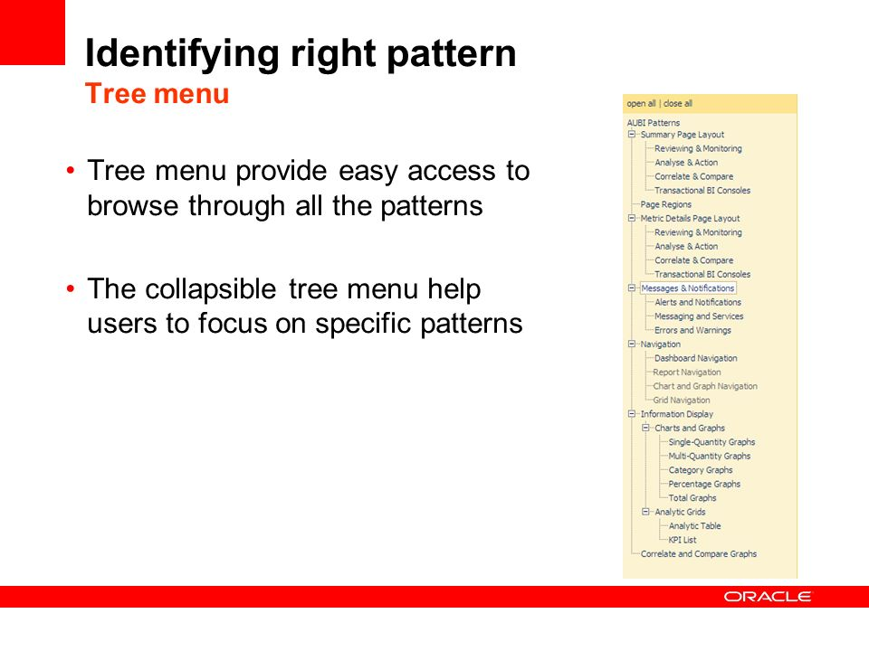 Identifying right pattern Tree menu Tree menu provide easy access to browse through all the patterns The collapsible tree menu help users to focus on