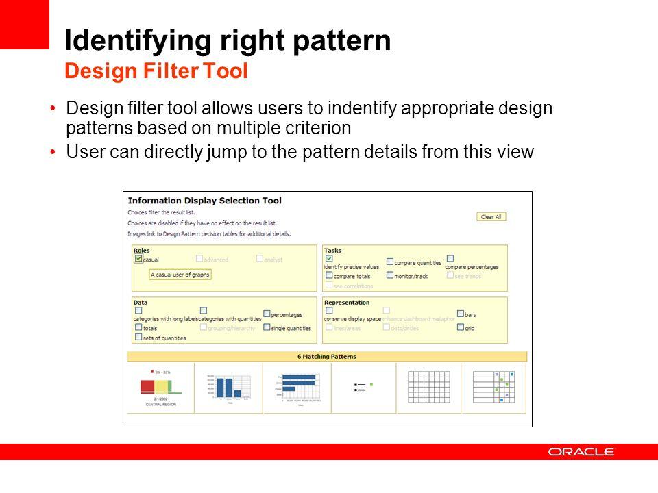 Identifying right pattern Design Filter Tool Design filter tool allows users to indentify appropriate design patterns based on multiple criterion User