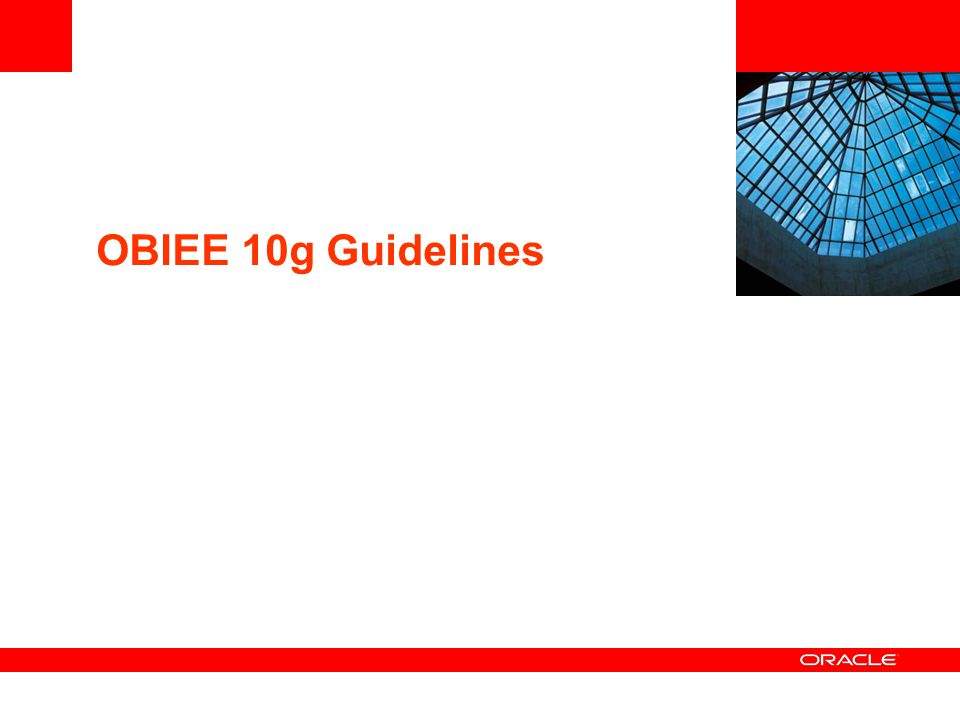 OBIEE 10g Guidelines