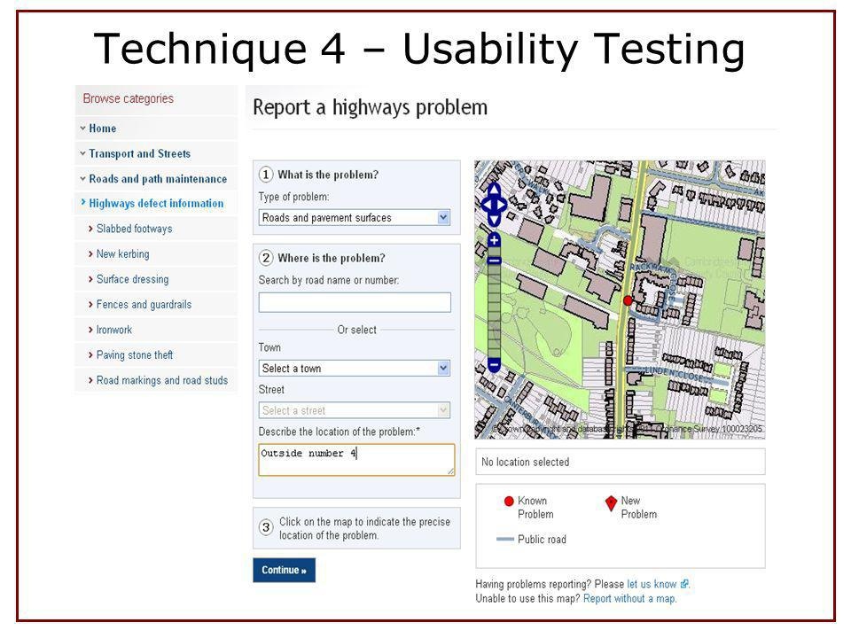 Technique 4 – Usability Testing