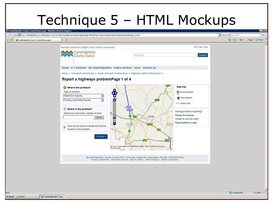 Technique 5 – HTML Mockups