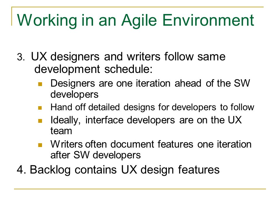 Working in an Agile Environment 3.