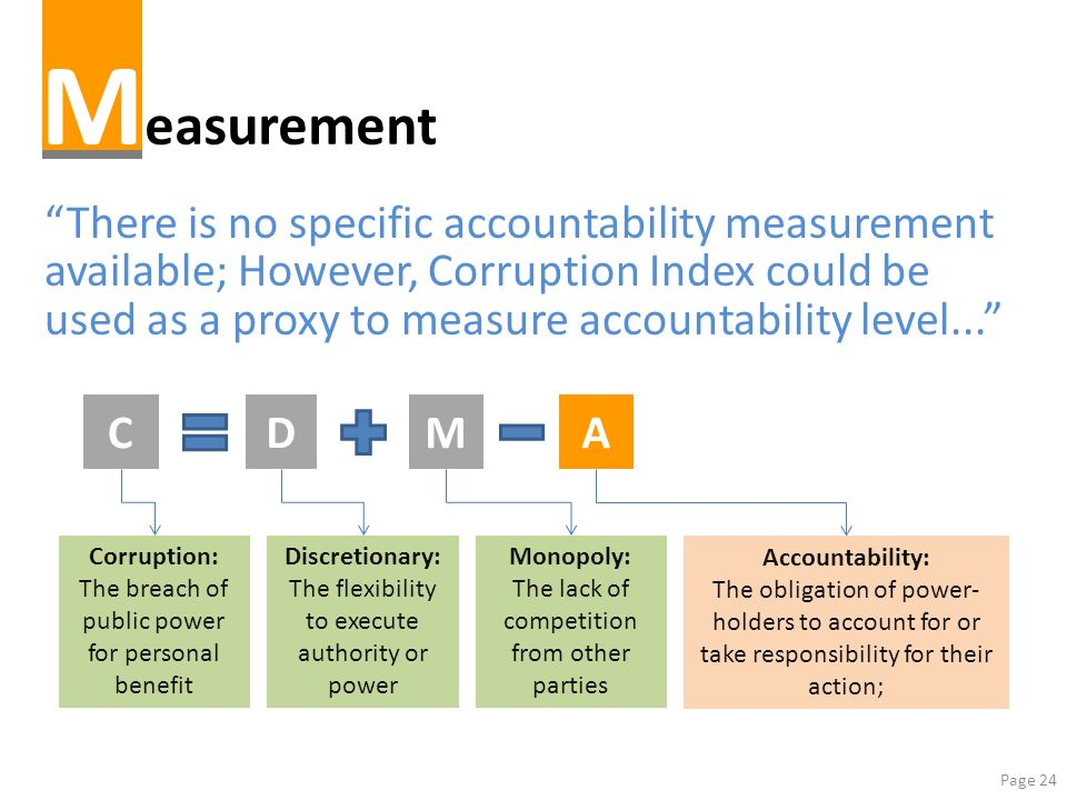 Page 24 M easurement There is no specific accountability measurement available; However, Corruption Index could be used as a proxy to measure accounta