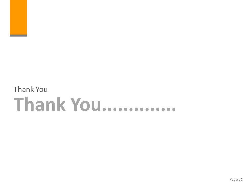 Page 31 Thank You Thank You..............