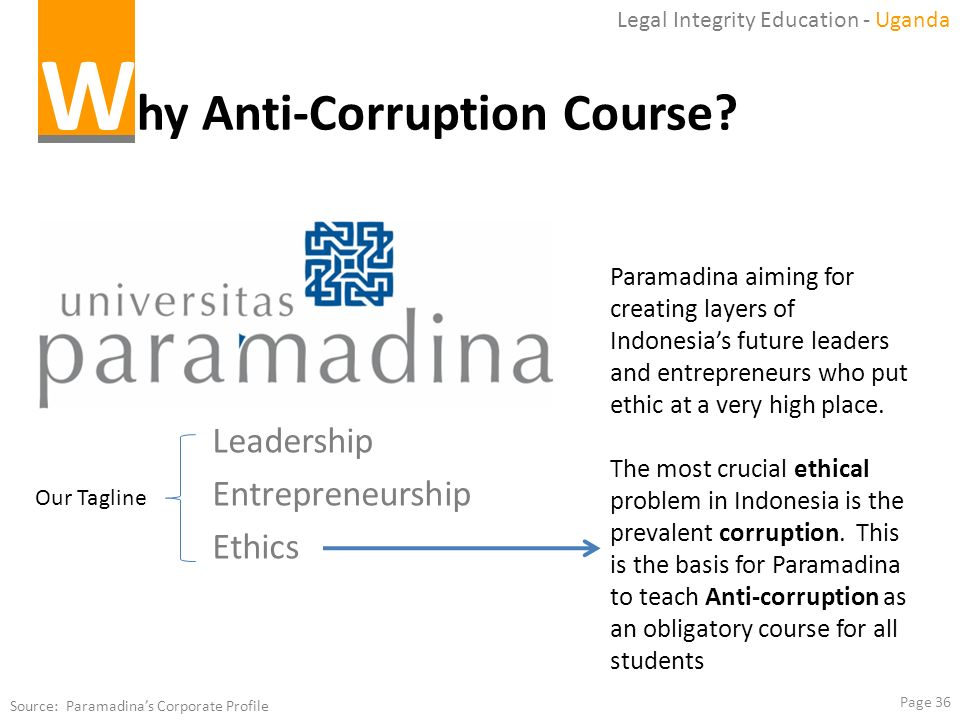 Page 36 W hy Anti-Corruption Course? Legal Integrity Education - Uganda Source: Paramadinas Corporate Profile Paramadina aiming for creating layers of