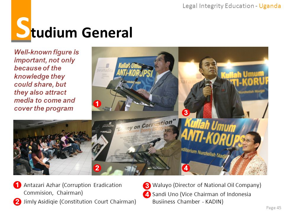 Page 45 S tudium General Well-known figure is important, not only because of the knowledge they could share, but they also attract media to come and c