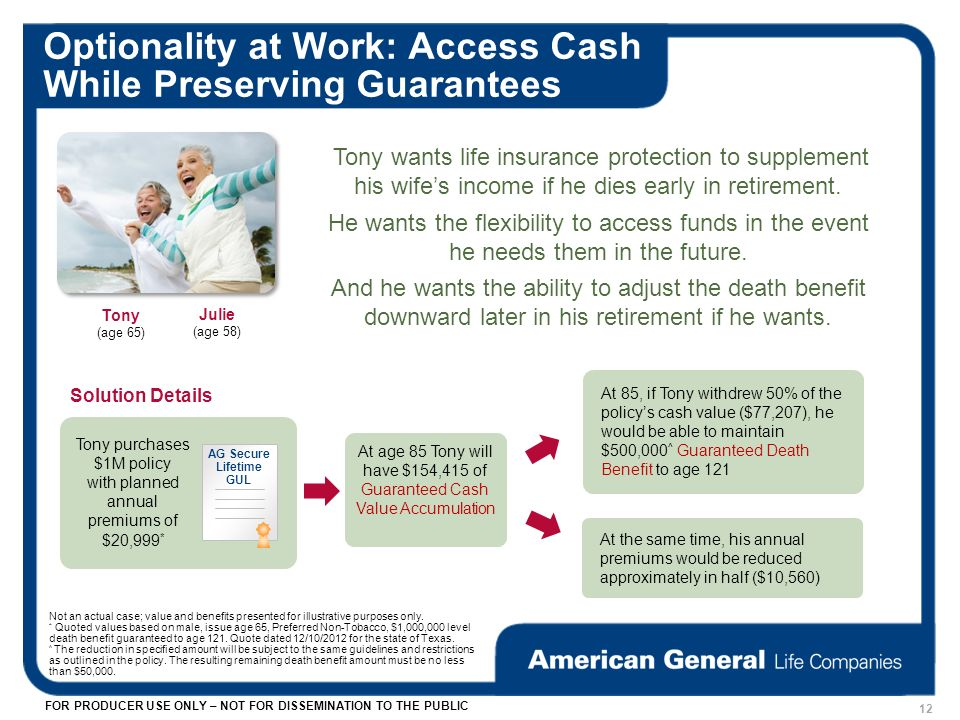 FOR PRODUCER USE ONLY – NOT FOR DISSEMINATION TO THE PUBLIC Optionality at Work: Access Cash While Preserving Guarantees Julie (age 58) Tony (age 65) Tony wants life insurance protection to supplement his wifes income if he dies early in retirement.