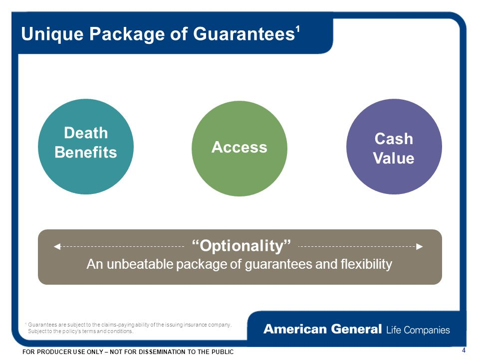 FOR PRODUCER USE ONLY – NOT FOR DISSEMINATION TO THE PUBLIC Unique Package of Guarantees 1 4 Death Benefits Access Cash Value Optionality An unbeatable package of guarantees and flexibility 1 Guarantees are subject to the claims-paying ability of the issuing insurance company.