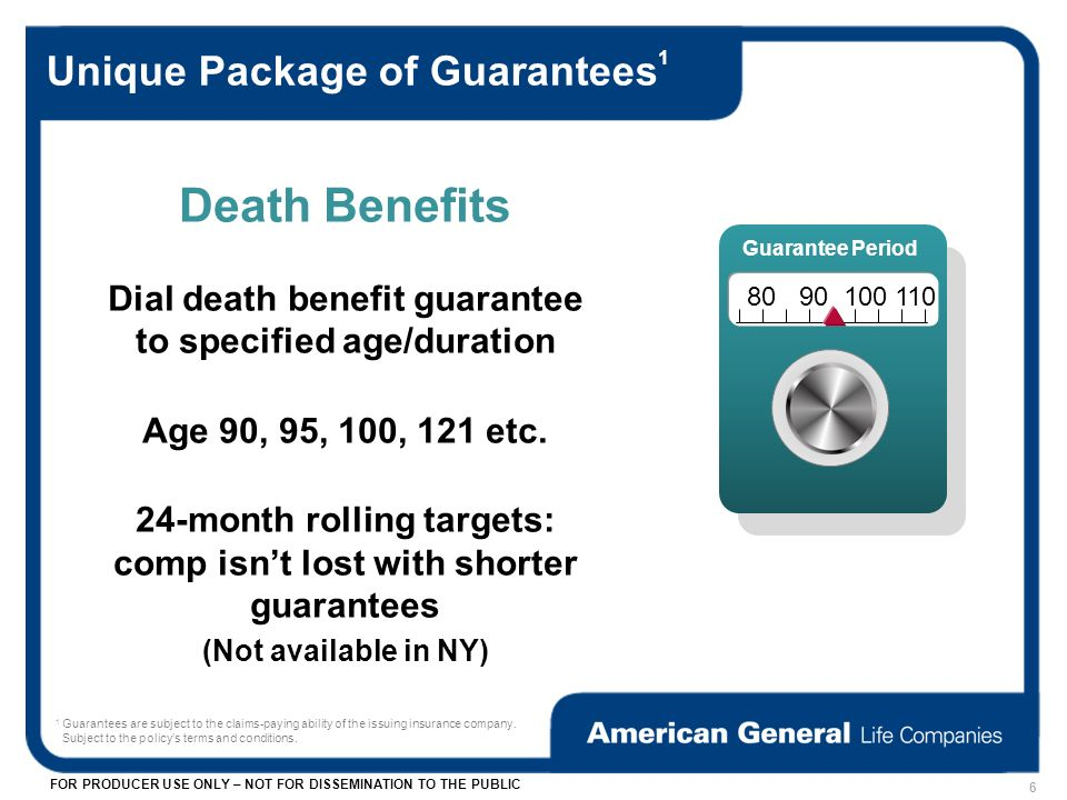 FOR PRODUCER USE ONLY – NOT FOR DISSEMINATION TO THE PUBLIC Unique Package of Guarantees 1 Death Benefits Dial death benefit guarantee to specified age/duration Age 90, 95, 100, 121 etc.