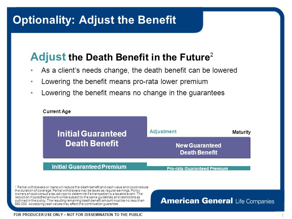 FOR PRODUCER USE ONLY – NOT FOR DISSEMINATION TO THE PUBLIC Optionality: Adjust the Benefit Adjust the Death Benefit in the Future 2 As a clients needs change, the death benefit can be lowered Lowering the benefit means pro-rata lower premium Lowering the benefit means no change in the guarantees Initial Guaranteed Death Benefit Current Age Maturity Adjustment New Guaranteed Death Benefit Initial Guaranteed Premium Pro-rata Guaranteed Premium 7 2 Partial withdrawals or loans will reduce the death benefit and cash value and could reduce the duration of coverage.