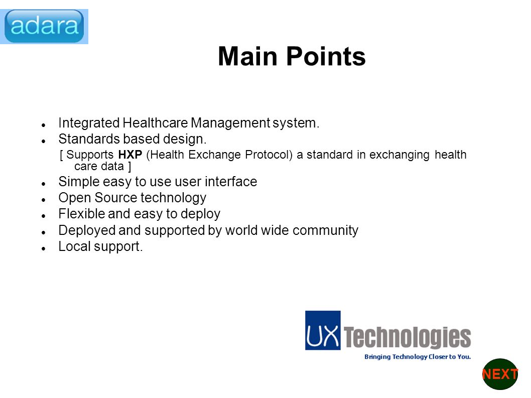 Integrated Healthcare Management system. Standards based design.