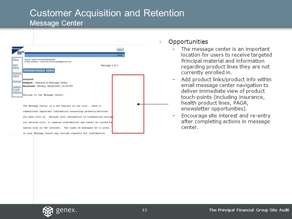 13The Principal Financial Group Site Audit Customer Acquisition and Retention Message Center Opportunities –The message center is an important location for users to receive targeted Principal material and information regarding product lines they are not currently enrolled in.
