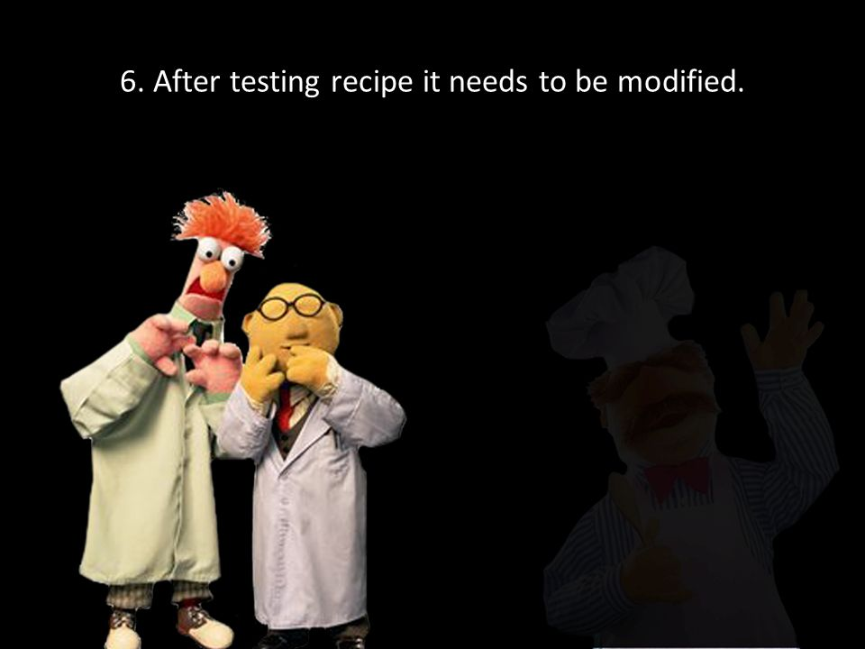 6. After testing recipe it needs to be modified.