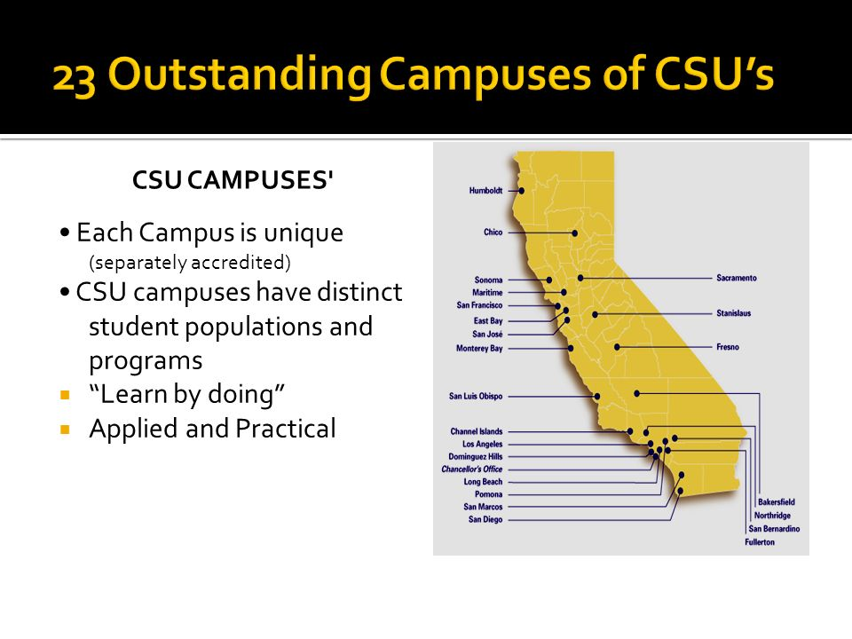 CSU CAMPUSES' Each Campus is unique (separately accredited) CSU campuses have distinct student populations and programs Learn by doing Applied and Pra
