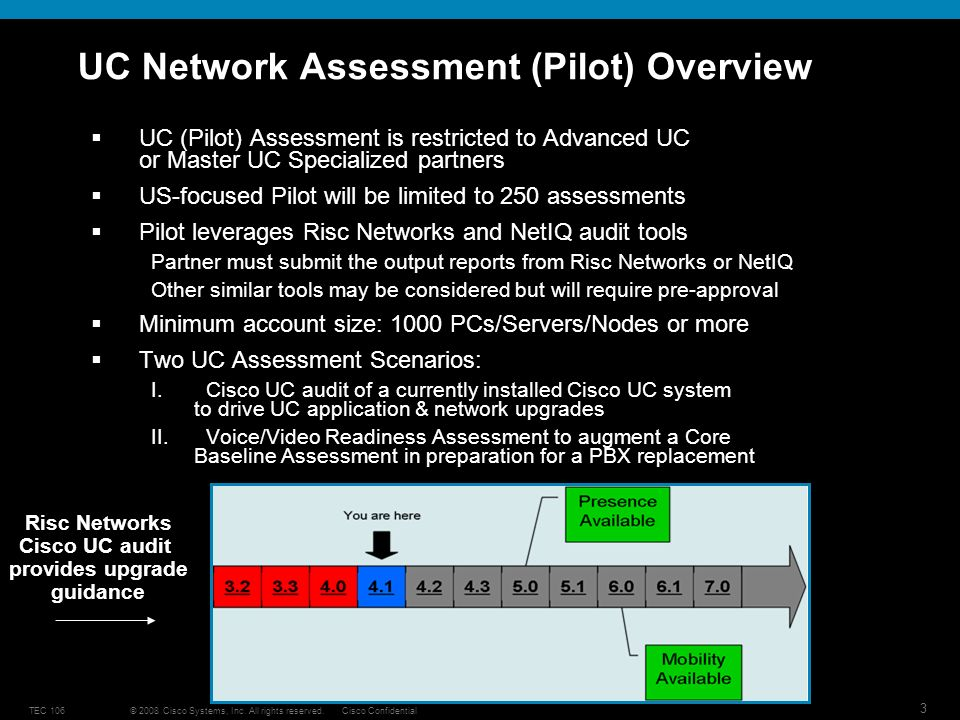 © 2008 Cisco Systems, Inc. All rights reserved.Cisco ConfidentialTEC 106 3 UC Network Assessment (Pilot) Overview UC (Pilot) Assessment is restricted