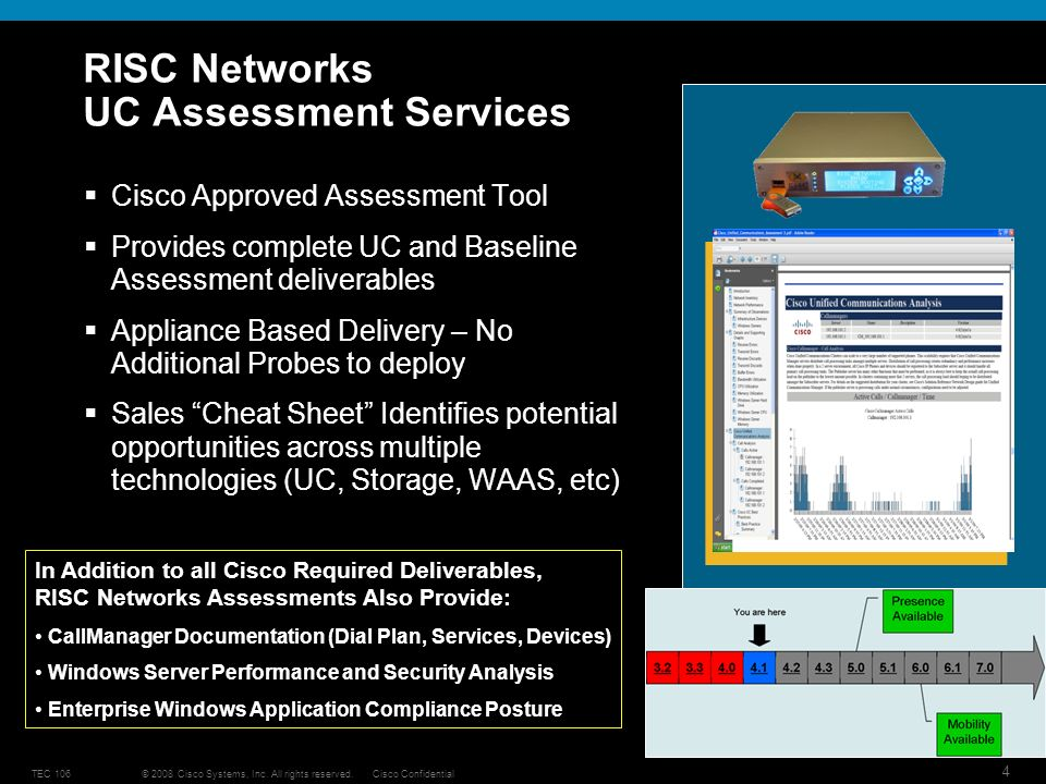 © 2008 Cisco Systems, Inc. All rights reserved.Cisco ConfidentialTEC 106 4 RISC Networks UC Assessment Services Cisco Approved Assessment Tool Provide