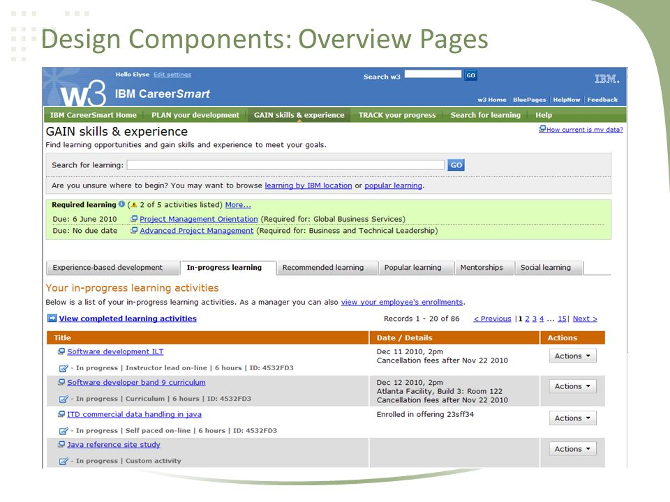 Design Components: Overview Pages