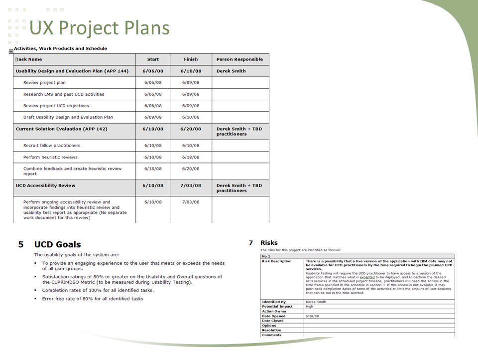 UX Project Plans