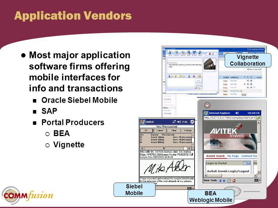 Application Vendors Most major application software firms offering mobile interfaces for info and transactions Oracle Siebel Mobile SAP Portal Produce