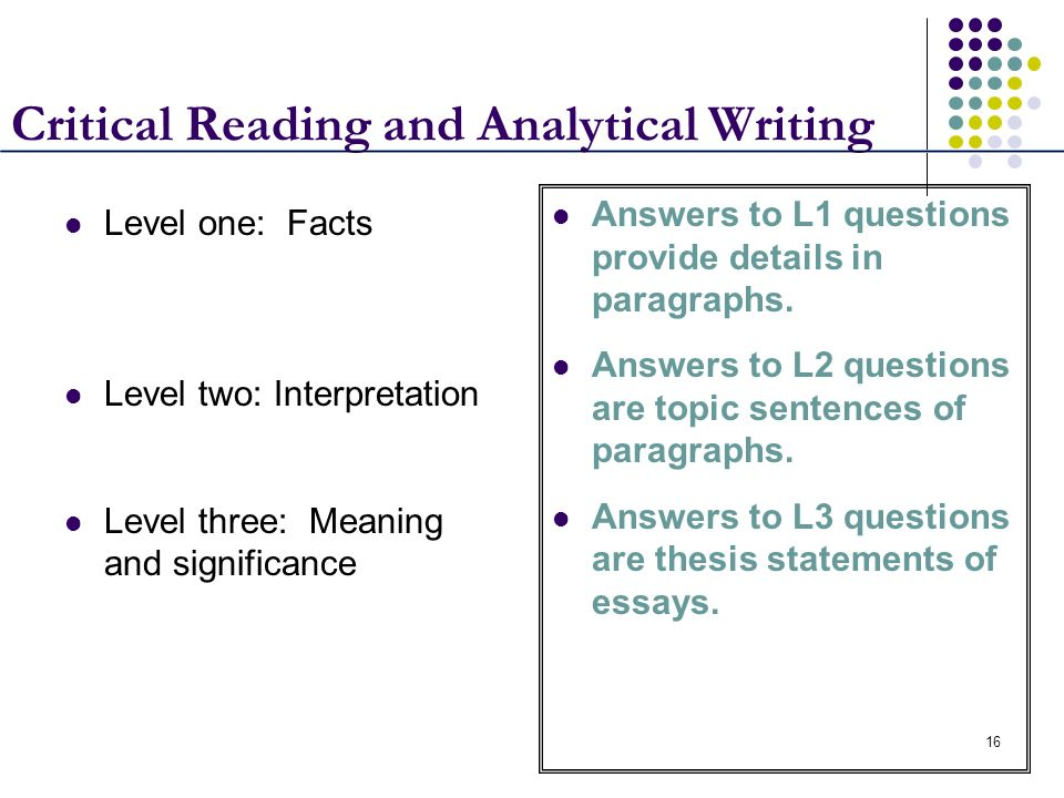 16 Critical Reading and Analytical Writing Level one: Facts Level two: Interpretation Level three: Meaning and significance Answers to L1 questions pr