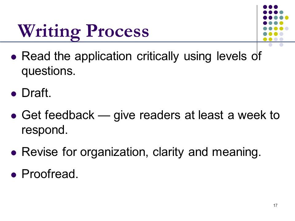 17 Writing Process Read the application critically using levels of questions. Draft. Get feedback give readers at least a week to respond. Revise for