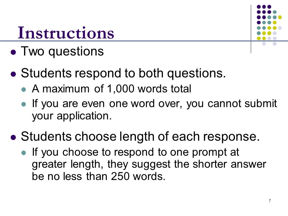 7 Instructions Two questions Students respond to both questions. A maximum of 1,000 words total If you are even one word over, you cannot submit your