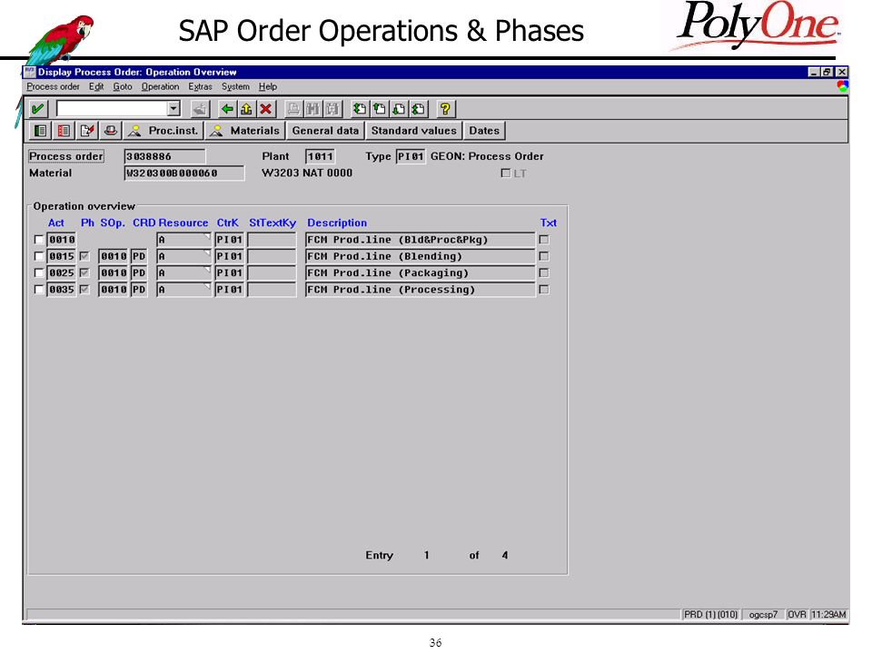 36 SAP Order Operations & Phases