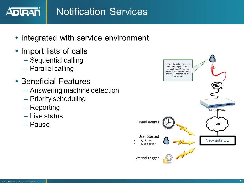 21 ® ADTRAN, Inc. 2010 All rights reserved Notification Services Integrated with service environment Import lists of calls –Sequential calling –Parall