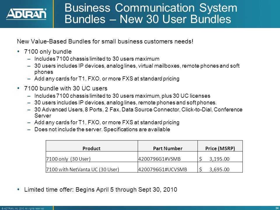 34 ® ADTRAN, Inc. 2010 All rights reserved Business Communication System Bundles – New 30 User Bundles New Value-Based Bundles for small business cust