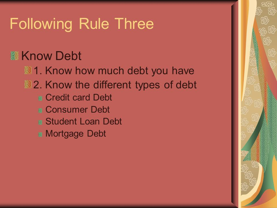 Following Rule Three Know Debt 1. Know how much debt you have 2.