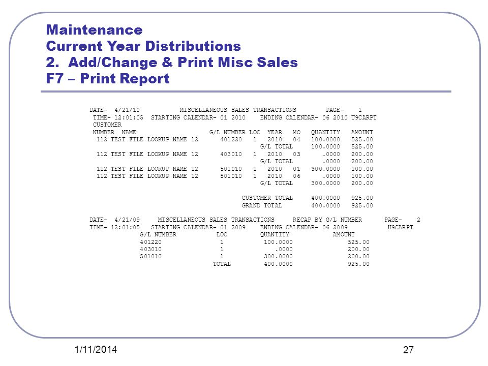 1/11/2014 27 Maintenance Current Year Distributions 2. Add/Change & Print Misc Sales F7 – Print Report DATE- 4/21/10 MISCELLANEOUS SALES TRANSACTIONS