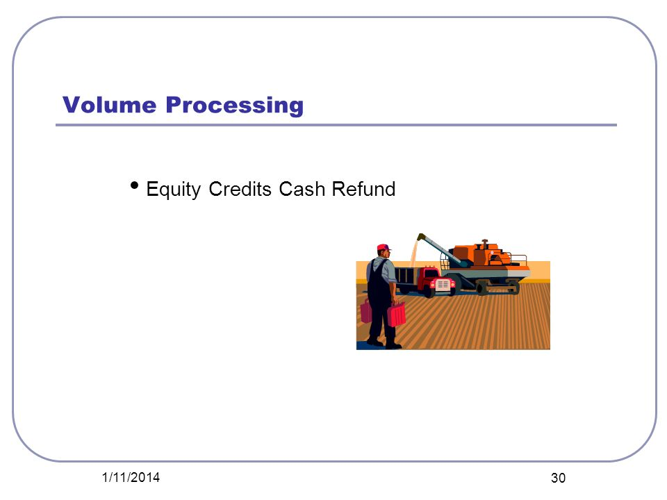 Volume Processing Equity Credits Cash Refund 1/11/2014 30