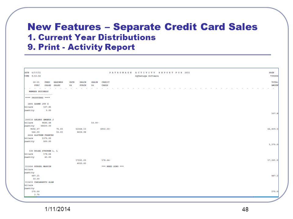 New Features – Separate Credit Card Sales 1. Current Year Distributions 9. Print - Activity Report 1/11/2014 48