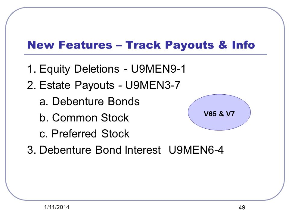 New Features – Track Payouts & Info 1. Equity Deletions - U9MEN9-1 2. Estate Payouts - U9MEN3-7 a. Debenture Bonds b. Common Stock c. Preferred Stock