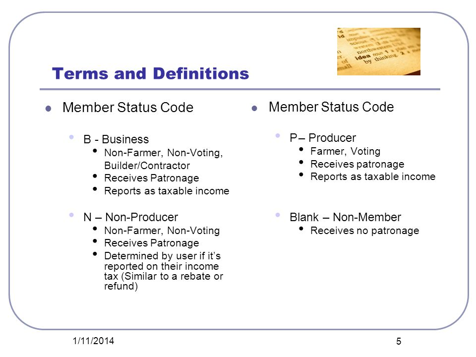 Terms and Definitions Member Status Code B - Business Non-Farmer, Non-Voting, Builder/Contractor Receives Patronage Reports as taxable income N – Non-
