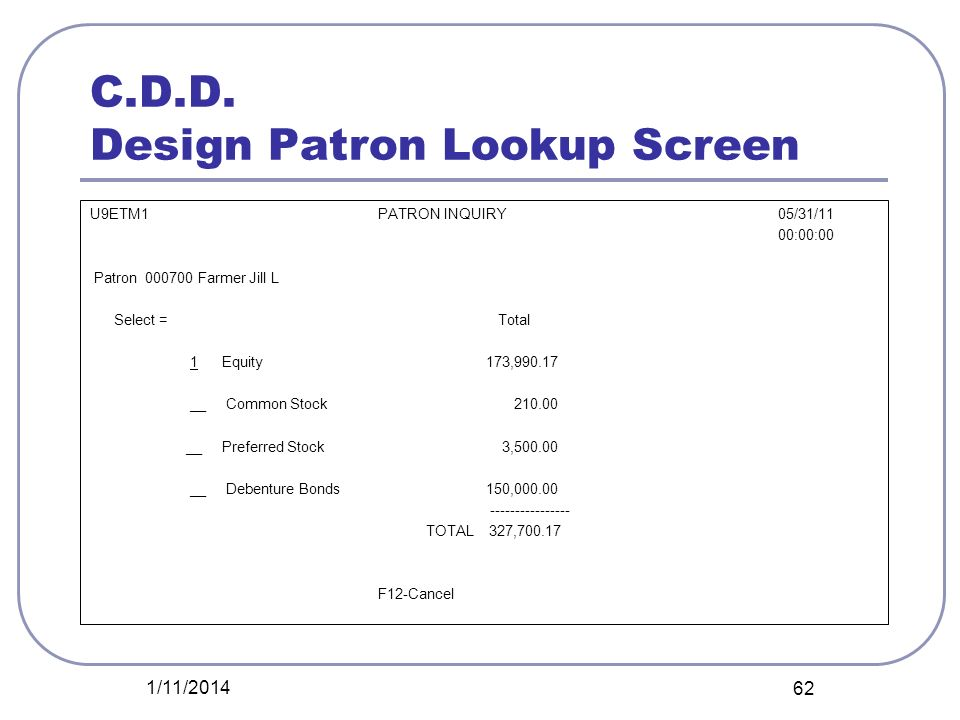 C.D.D. Design Patron Lookup Screen U9ETM1PATRON INQUIRY 05/31/11 00:00:00 Patron 000700 Farmer Jill L Select = Total 1 Equity 173,990.17 __ Common Sto