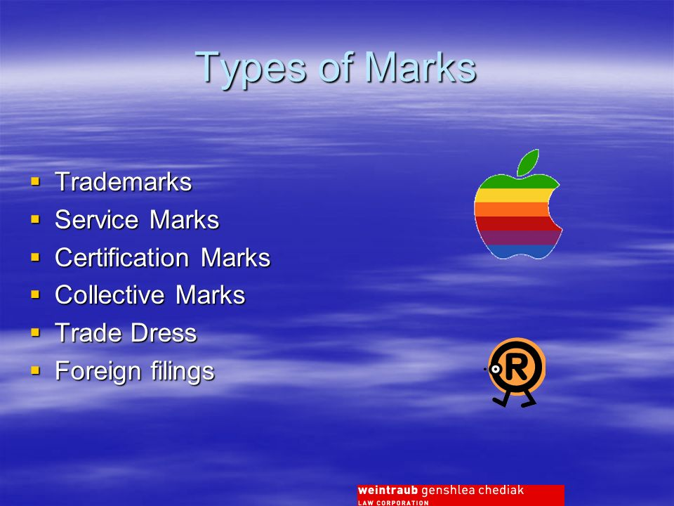 Types of Marks Trademarks Trademarks Service Marks Service Marks Certification Marks Certification Marks Collective Marks Collective Marks Trade Dress Trade Dress Foreign filings Foreign filings