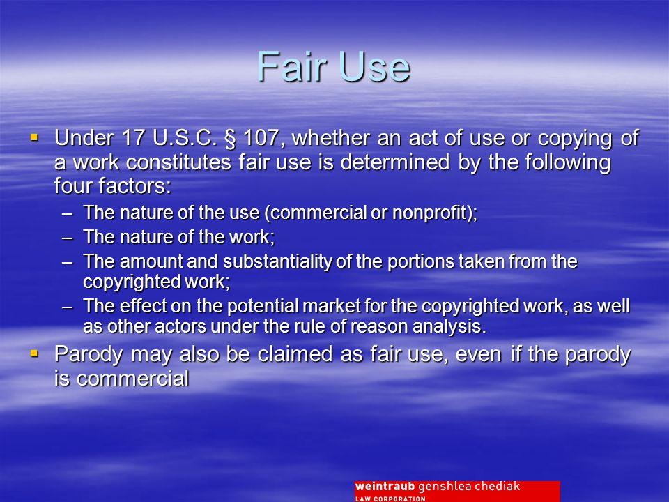 Fair Use Under 17 U.S.C.