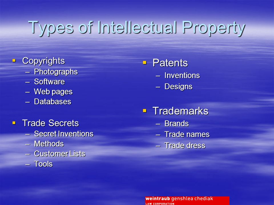 Types of Intellectual Property Patents Patents –Inventions –Designs Trademarks Trademarks –Brands –Trade names –Trade dress Copyrights Copyrights –Photographs –Software –Web pages –Databases Trade Secrets Trade Secrets –Secret Inventions –Methods –Customer Lists –Tools