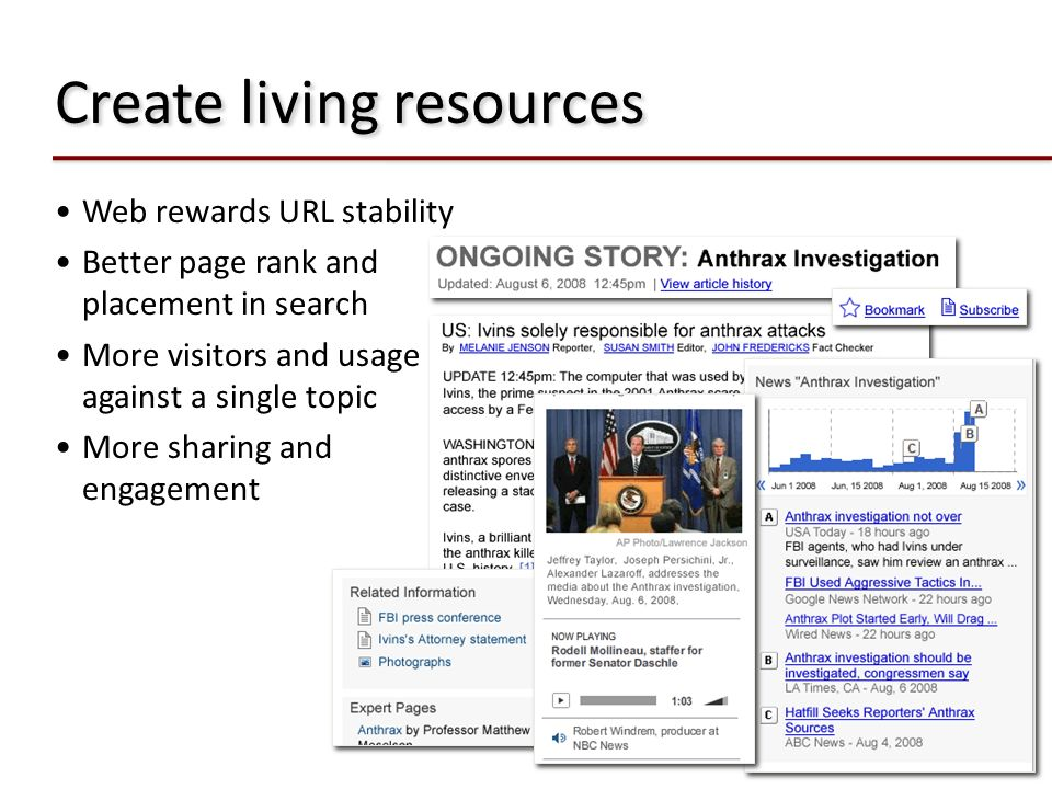 Create living resources Web rewards URL stability Better page rank and placement in search More visitors and usage against a single topic More sharing