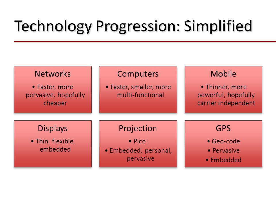 Technology Progression: Simplified Networks Faster, more pervasive, hopefully cheaper Computers Faster, smaller, more multi-functional Mobile Thinner,