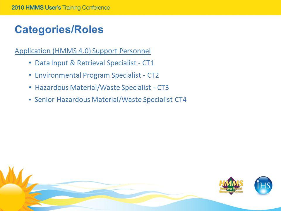 Categories/Roles Application (HMMS 4.0) Support Personnel Data Input & Retrieval Specialist - CT1 Environmental Program Specialist - CT2 Hazardous Mat