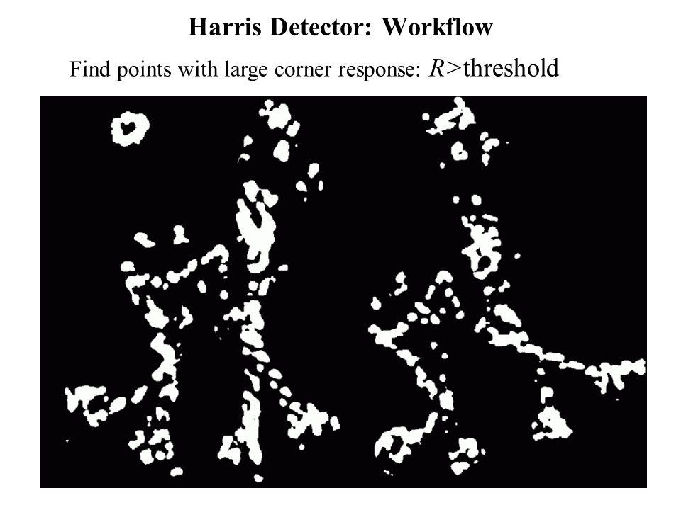 Computer Vision : CISC 4/689 Harris Detector: Workflow Find points with large corner response: R>threshold