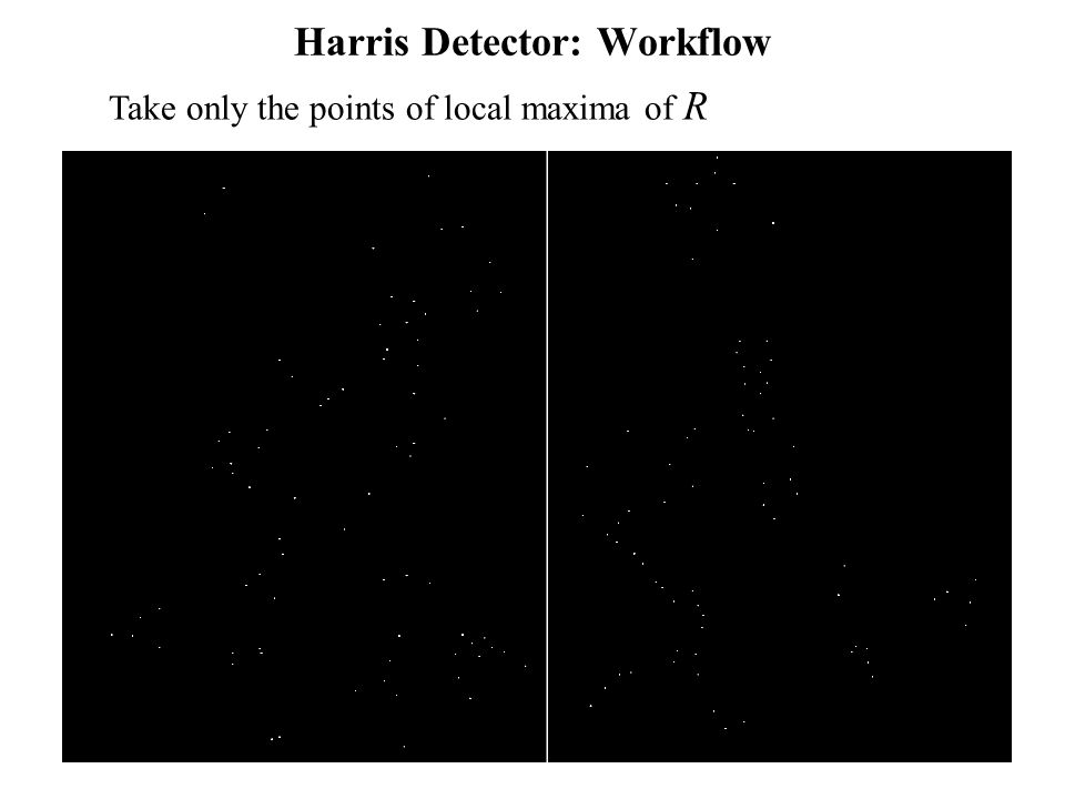 Computer Vision : CISC 4/689 Harris Detector: Workflow Take only the points of local maxima of R