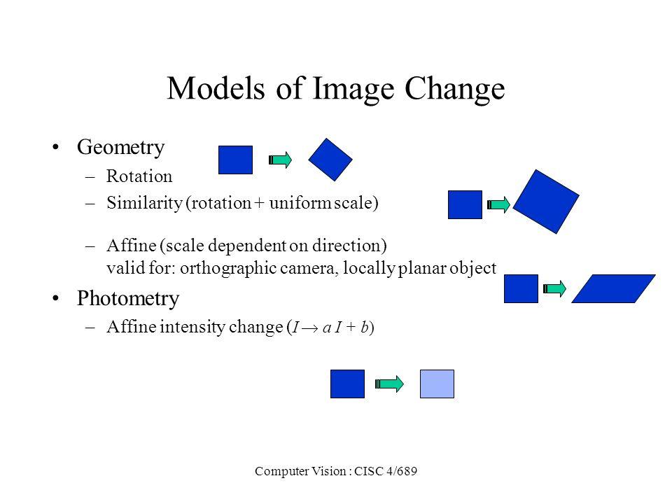 Computer Vision : CISC 4/689 Models of Image Change Geometry –Rotation –Similarity (rotation + uniform scale) –Affine (scale dependent on direction) v